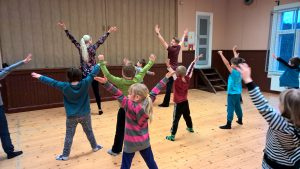 Tanssivia lapsia selin kameraan