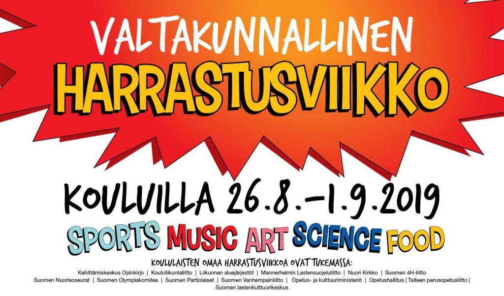 Mainos Valtakunnallinen harrastusviikko kouluilla 26.8. - 1.9.2019